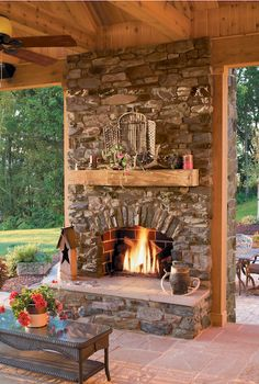 Rustic Outdoor Fireplace | Eldorado Stone