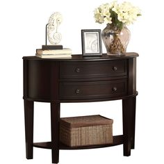 Coaster Cappuccino Demilune Entry Sofa Table ($331) ❤ liked on Polyvore featuring home, furniture, tables, accent tables, brown, wood console table, wooden shelving, wooden storage shelves, wood storage shelf and half moon console table