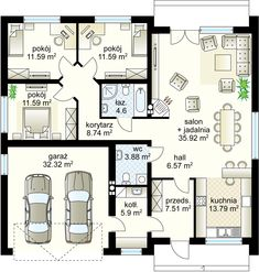 Biszkopt projekt - Parter 121.68 m² + garaż 32.32 m² House Layout Plans, Modern House Plans, House Layouts, Minimalist House Design, Minimalist Home, Watercolor Architecture, Architecture Design, Bungalow House Design, Japanese House