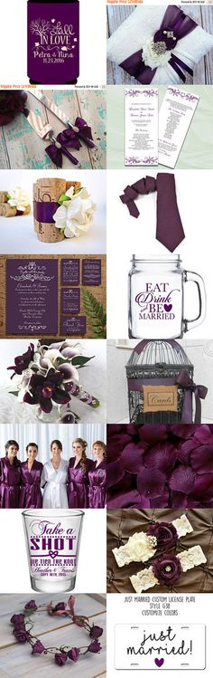 Fall In Love With Plum by #MyCustomWedding on #Etsy - Plum is a luscious and vibrant color you might want to give serious thought to if you're planning a Fall Wedding. Here are 16 beautiful handmade items that are perfect if you're considering using this color on your big day. Enjoy!
