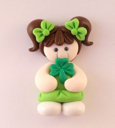 Polymer Clay Bead or Bow Center - St Patricks Day Girl. $3.25, via Etsy.