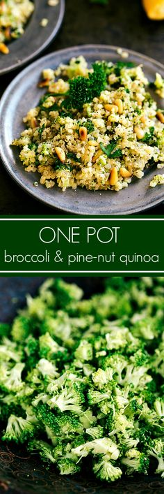 A delicious and easy one-dish broccoli quinoa with toasted pine nuts. This makes a perfect side dish or a great main course with some added protein. To Veganize use veggie broth.