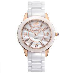 [$58.00] Luminous Water Resistant Ceramic Diamond Big Dial Watch for Women - Free Shipping