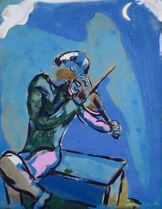 Marc Chagall, (1887-1985) was een Frans kunstschilder van Joods-Wit-Russische afkomst. Hij was de zoon van een eenvoudige haringhandelaar en de oudste van negen kinderen. Het gezin was chassidisch joods. Deze arme maar gelukkige periode in Chagalls leven keert talloze malen terug in zijn werk.