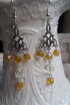 Vintage Style/Art Deco Amber and Pale Yellow Czech by EgeriasWell, $25.00