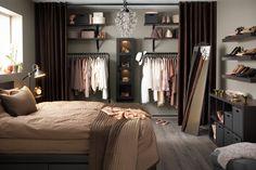 New bedroom closet curtains ideas Interior, Home, Open Closet, Home Bedroom, Bedroom Design, Closet Curtains, Wardrobe Organisation, No Closet Solutions, Bedroom