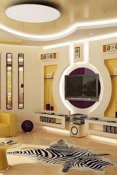 Tv Unit Design, Wall Unit Designs, Tv Wall Design, Ceiling Design Living Room, False Ceiling Design, Living Room Tv, Interior Design Living Room, Dining Room, Interior Design Blogs