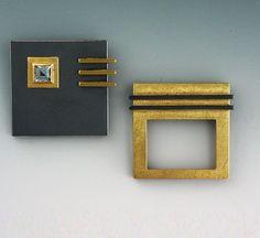 Janis Kerman Design   Oxidized sterling silver, 18kt yellow gold, blue topaz