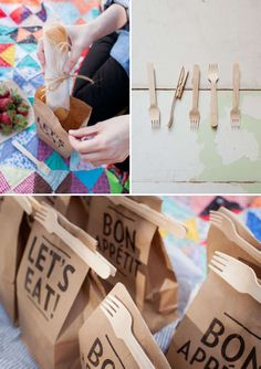 Picnic packaging (I wud try: fold top, punch 2 holes thru it all & tie fork etc on to secure utensil & the fold.