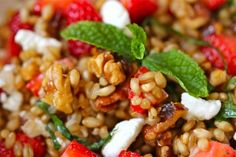 wheatberries with strawberries, walnuts and goatcheese. Get recipe off Food TV Giada DeLorentis - oh so yummy!!  Anne Fitzgerald, this is right up your alley! :)