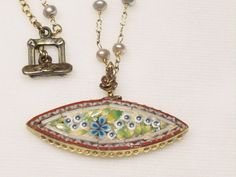 4 Vintage Mosaic Pendant Freshwater Pearl beaded Necklace