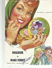 1948 DUQUESNE VS WAKE FOREST  COLLEGE  FOOTBALL PROGRAM  VERY GOOD