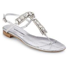 Manolo Blahnik Zanfimod Jeweled Metallic Leather Thong Sandals