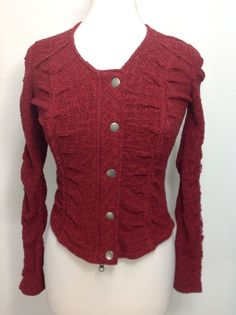 Free People XS Red Fitted Runched Cotton Blend Sweater Jacket Isabel Marant  #FreePeople #SweaterJacket