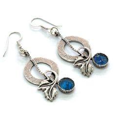 Roman Glass Vintage Earrings 925 Silver Roman by MichalDesigns, $122.00