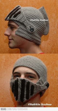 Crocheted Knight Helmet... this would actually be really great for running outside during the winter... because it doesn't make you look like you're going to mug somebody... or does it?