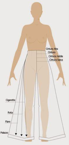 Tipos de calças: modelos e comprimentos - Industria Textil e do Vestuário - Textile Industry - Ano VII Sewing Pants, Sewing Clothes, Diy Clothes, Clothing Patterns, Dress Patterns, Sewing Patterns, Diy Fashion, Ideias Fashion, Womens Fashion