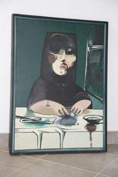 Janusz Przybylski. Bankiet 5; 1980; olej, płótno; 75x55 Contemporary, Painting, Art, Painting Art, Paintings, Kunst, Paint, Draw, Art Education