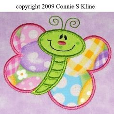 Cute Butterfly applique 4x4 size embroidery machine design FUN