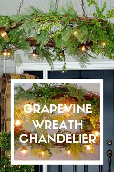 DIY Christmas Grapevine Wreath Chandelier that uses a light bulb socket adapter to plug it in. Christmas Lights, Christmas Diy, Christmas Wreaths, Christmas Decorations, Holiday Decor, How To Make A Chandelier, Diy Chandelier, Chandeliers, Urban Cottage