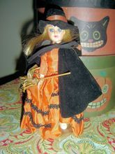 Hard Plastic  Doll from 1950's Dressed as Halloween Witch - From The Doll Trunk on Ruby Lane