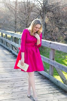 Pink Bow-Sleeve Dress on Glitter & Spice