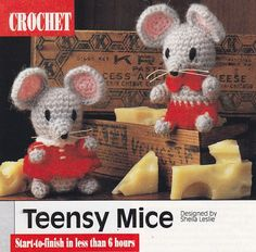 Mouse Crochet Pattern - Teensy Mice Christmas Ornaments