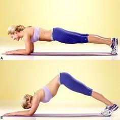 플랭크 응용 동작으로 복부운동하기 (Dolphin to plank).