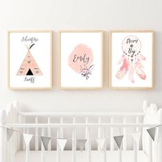 Nursery Art Custom Name Print Set of 3 Print Triptych Kids Room Wall Art, Triptych, Adventure Awaits, Nursery Art, Dream Big, Printable Art, Inspirational Quotes, Wall Decor, Digital