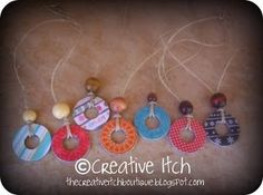 DIY washer necklaces with paper, Mod Podge, and beads