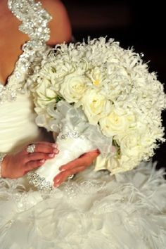 White elegant wedding posy bouquet