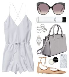 """""""Date Night in Summer"""" by cigerett ❤ liked on Polyvore featuring Wilfred, Aquazzura, MICHAEL Michael Kors, Apt. 9, Linda Farrow, Normal Timepieces, Uncommon and Bobbi Brown Cosmetics"""