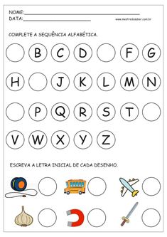 3 - Atividades com Alfabeto Alphabet Writing Practice, Alphabet Tracing Worksheets, Color Worksheets For Preschool, Lectures, Learning Activities, Teaching Kids, Professor, Education, Kids Learning Activities