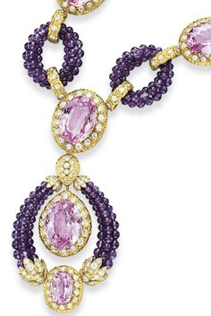 """Detail: A kunzite, amethyst and diamond """"Triphanes"""" sautoir by Van Cleef and Arpels, circa 1973. Elizabeth Taylor collection, Christie's."""