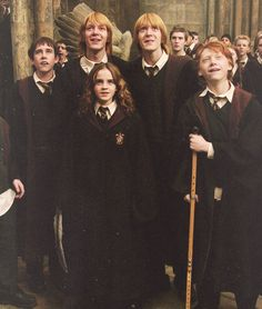 Weasley twins with brother Ron, Hermione and Neville