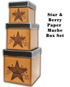 KP Creek Gifts - Star and Berry Boxes, 3/set