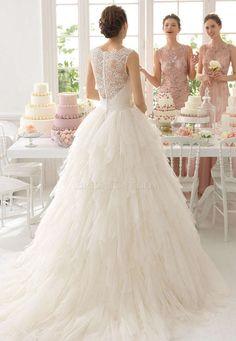 Short train Aire Barcelona 8C181 Ansel Floor Length Long High Neck Wedding Dress