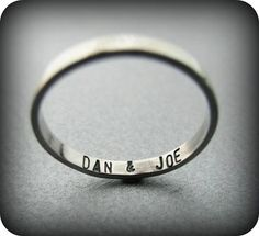 Secret message - custom stamped recycled sterling silver ring. $38.00, via Etsy.