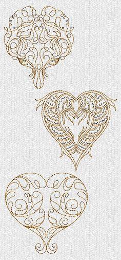 INSTANT DOWNLOAD Filigree Valentines Hearts por embroiderygirl