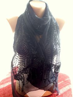 Black++lace+scarf+accessories+fashion+scarf+gift++from+bigsweetheart+by+DaWanda.com