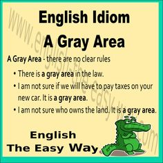 It is _________ . 1. a gray area 2. not clear 3. both  #EnglishIdiom