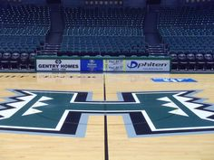 University of Hawaii Basketball floor graphic really stands out in this spacious stadium.