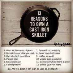 13 Reasons to Own Cast Iron Skillet Cast Iron Skillet, Cast Iron Cooking, Grill Oven, Cast Iron Recipes, Cast Iron Cookware, Skillet Meals, Skillet Recipes, Food Hacks, Food Tips