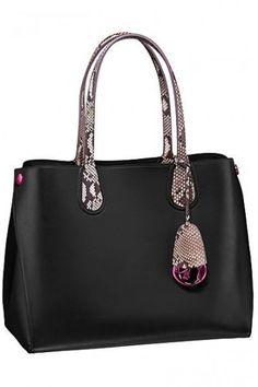 Handbag nera con manici rettile