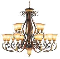 Livex Lighting Villa Verona Verona Bronze with Aged Gold Leaf Accents Chandelier 8568-63