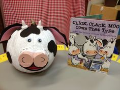 Click, Clack Moo Cows That Type - Cow Character Pumpkin Book Characters Dress Up, Book Character Costumes, Storybook Characters, Theme Halloween, Holidays Halloween, Halloween Pumpkins, Halloween Crafts, Pumpkin Decorating Contest, Pumpkin Contest