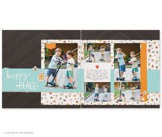 Two page scrapbook layout with 5 pictures Baby Scrapbook Pages, Scrapbook Sketches, Scrapbook Page Layouts, Scrapbook Cards, Scrapbooking Ideas, Picture Layouts, Multi Photo, Creative Memories, Vinyl Art