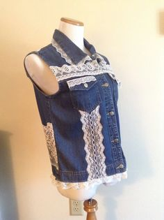 SALE Upcycled Denim Vest Lace Trimmed Jean Vest by DragonflyDenim