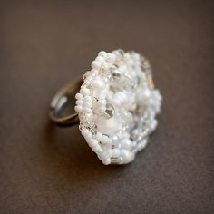 Unusual white ring Adjustable ring for her Big by HappyBeadwork