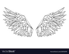 Find Artistic Drawn Black Outlined Polygonal Wings stock images in HD and millions of other royalty-free stock photos, illustrations and vectors in the Shutterstock collection. Thousands of new, high-quality pictures added every day. Geometric Tattoo Design, Geometric Drawing, Geometric Art, Art Sketches, Art Drawings, Polygon Art, String Art, Line Art, Illustration